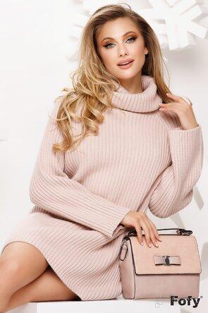 Pulover dama roz pudrat lung gros pentru colant