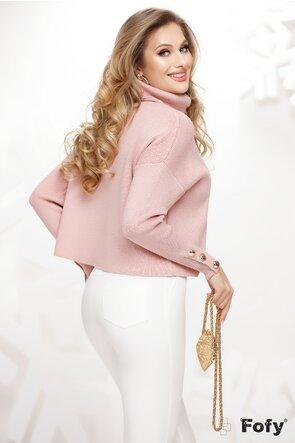 Pulover dama roz pudrat pe gat cu nasturi la maneci