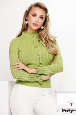 Pulover dama verde cu volanase si funda eleganta cu perle