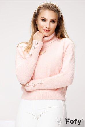 Pulover de dama roz pudra pufos cu nasturi perla decorativi