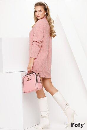 Pulover de dama  tricotat lung roz pufos