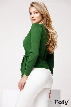 Pulover de dama verde elegant parte peste parte