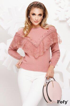 Pulover roz dama elegant cu volan din dantela
