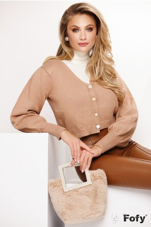 Pulover dama scurt bej stil jacheta cu nasturi diferiti