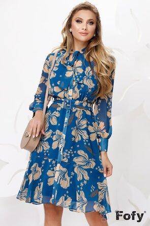 Rochie albastra din voal cu imprimeu floral