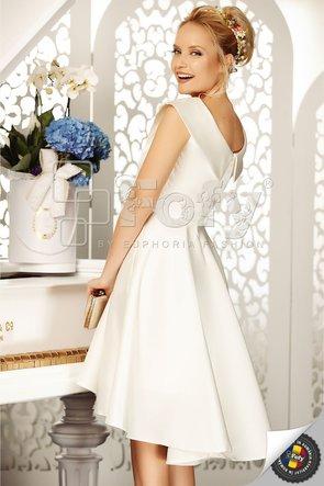 Rochie asimetrică elegantă din tafta ecru