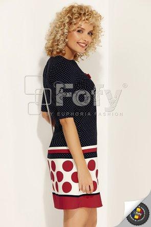 Rochie  Fofy bleumarin cu dungi și buline roșii