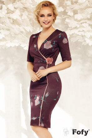 Rochie bordo imprimata cu flori stilizate