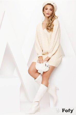 Rochie dama ecru tricotata cu decolteu in V