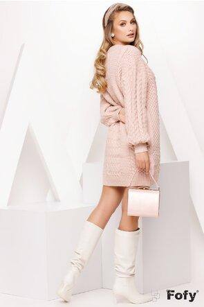 Rochie dama roz tricotata cu decolteu in V