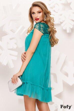 Rochie de ocazie scurtă cu perle și volănașe decorative