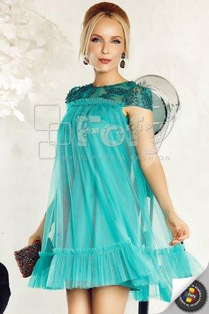 Rochie de ocazie scurtă verde cu perle și volănașe decorative