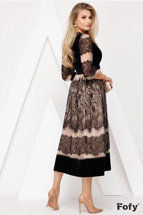 Rochie din dantela cu bust de catifea parte peste parte