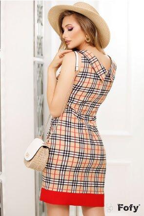 Rochie elegantă print clasic și fundă maxi decorativă