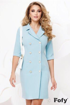 Rochie Fofy bleu stil sacou cu nasturi pretiosi cu strassuri si perla maxi