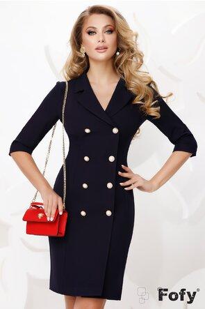 Rochie Fofy bleumarin stil sacou cu nasturi pretiosi cu strassuri si perla maxi
