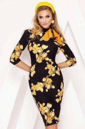 Rochie Fofy cu flori galbene si esarfa