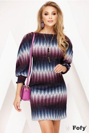 Rochie Fofy cu imprimeu zigzag bleumarin bordo cu maneci elaborate si colier decorativ