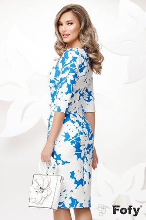 Rochie Fofy eleganta conica cu crapatura pe picior albastra cu alb
