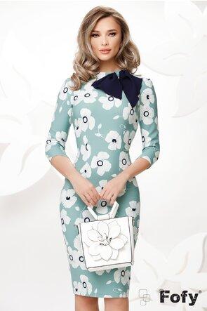 Rochie Fofy eleganta mulata imprimeu floral cu esarfa in contrast
