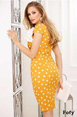 Rochie Fofy galbena cu buline si floare lucrata manual