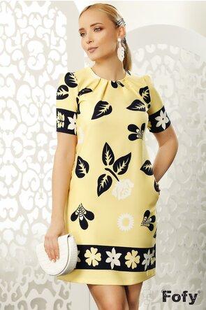 Rochie Fofy  galbena cu imprimeu floral