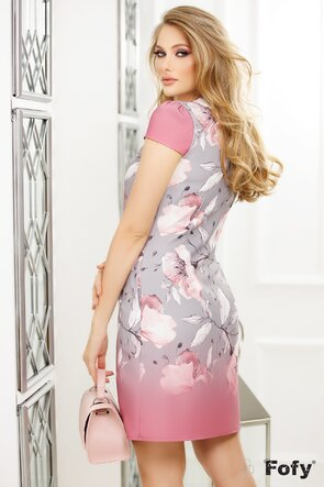 Rochie Fofy imprimeu floral roz cu gri, croi lejer cu pliuri la decolteu