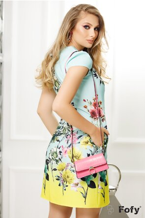 Rochie Fofy lime cu menta imprimeu floral multicolor,croi lejer cu pliuri la decolteu