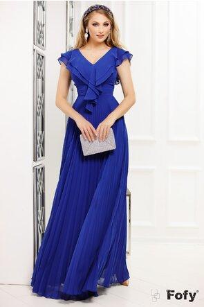 Rochie Fofy lunga de ocazie  albastru regal cu volan  stilizat pe decolteu si fusta plisata