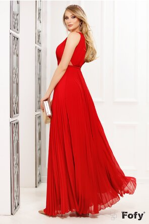 Rochie Fofy lunga plisata de ocazie rosie cu decolteu adanc