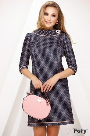 Rochie Fofy retro cu imprimeu discret roz bleumarin cu contur roz la guler si maneca