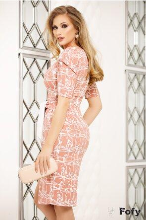 Rochie Fofy  roz cu nod stilizat