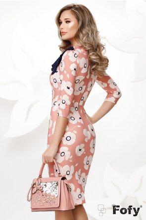 Rochie Fofy roz eleganta mulata imprimeu floral cu easrfa in contrast