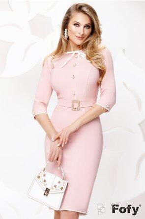 Rochie Fofy roz office cu nasturi perla si contururi ecru