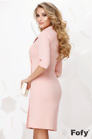 Rochie Fofy roz stil sacou cu nasturi pretiosi cu strassuri si perla maxi