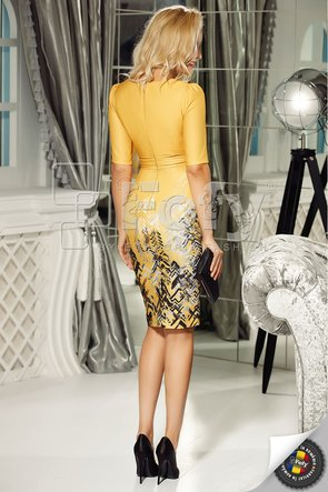 Rochie galben imprimat cu bust petrecut