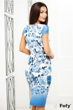 Rochie  Fofy maneca scurta cu imprimeu floral albastru și decolteu generos