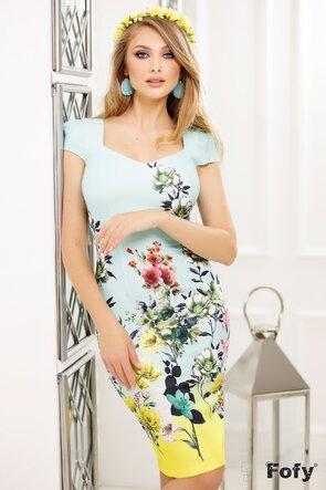 Rochie maneca scurta cu imprimeu floral și decolteu generos cu bordura lime