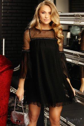 Rochie neagră scurtă de ocazie cu detalii transparente la umeri și mâneci
