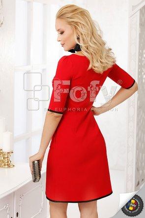 Rochie Fofy roșie cu inserții decorative