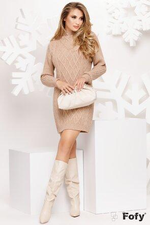 Rochie tricotata bej pe gat