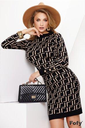 Rochie tricotata cu imprimeu geometric negru cu bej si nasturi metalici