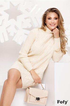 Rochie tricotata ecru pe gat
