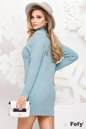 Rochie tricotata turcoaz pe gat