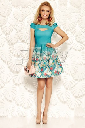 Rochie turquoise cu decolteu decupat și imprimeu geometric