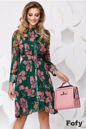 Rochie verde din voal cu imprimeu floral