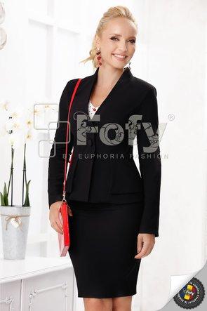Sacou negru cu două rânduri de peplum