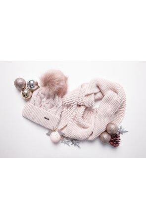Set duo caciula si fular roz circular tricotat