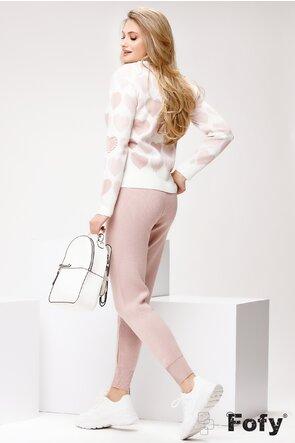 Trening de dama bicolor tricotat cu inimioare roz pudra si perle