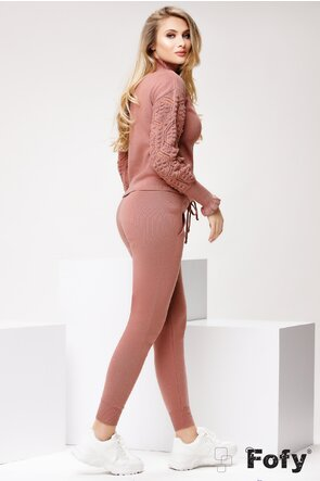 Trening tricotat dama roz pudra 2 piese